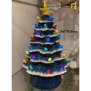 "12"" Mr. Christmas Country Blue Ceramic Tree"